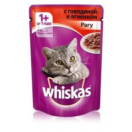 Пресервы Whiskas рагу с говядиной и ягнёнком для взрослых кошек, упаковка 24 штуки по 85г