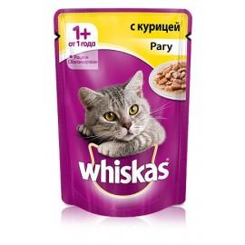 Пресервы Whiskas рагу с курицей для взрослых кошек, упаковка 24 штуки по 85г