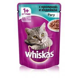 Пресервы Whiskas рагу с кроликом и индейкой для взрослых кошек, упаковка 24 штуки по 85г