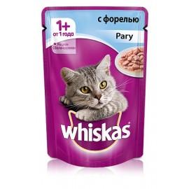 Пресервы Whiskas рагу с форелью для взрослых кошек, упаковка 24 штуки по 85г