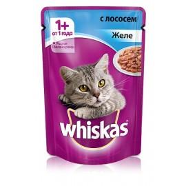Пресервы Whiskas с лососем в желе для взрослых кошек, упаковка 24 штуки по 85г