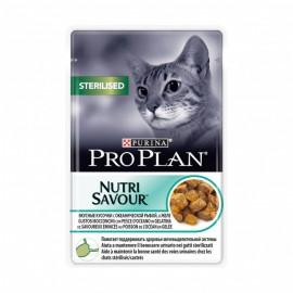 Пресервы Pro Plan NUTRI SAVOUR Sterilised - для стерилизованных кошек с океанической рыбой в желе (упаковка 24 штуки по 85г)