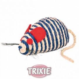 4074 Игрушка сизалевая для кошки в виде мышки с кошачьей мятой и погремушкой, 10 см