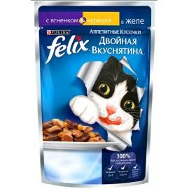 """FELIX """"Двойная вкуснятина"""" - аппетитные кусочки в желе с ягненком и курицей для кошек (упаковка 24 штуки по 85г)."""