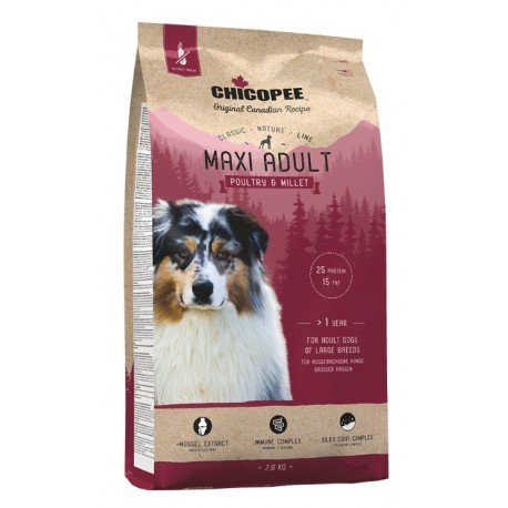 Chicopee Classic Nature Line Maxi Adult Poultry & Millet - корм для собак крупных пород с птицей и просо