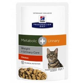 Пресервы Hill's PD Feline Metabolik + Urinary - для кошек для контроля веса и урологическим синдромом, 85 г (упаковка 12 штук)