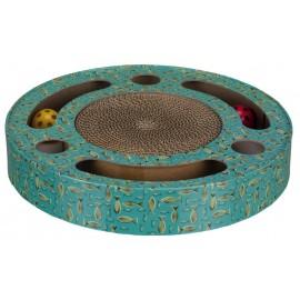 """Когтеточка """"TRIXIE"""" в виде барабана, с игрушками, синий, диаметр:33 см -2 шара внутри заставляют кота играть"""
