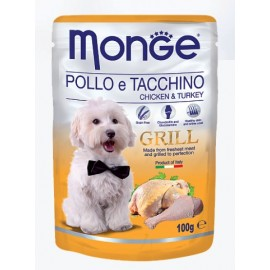 Monge Grill Pouch Pollo e Tachino (Chicken&Turkey) - влажный корм для собак с кусочками курицы и индейки, 100г