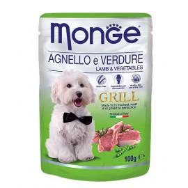 Monge Grill Pouch Agnello e Verdure (Lamb&Vegetables) - влажный корм для собак с кусочками мяса ягненка и овощами, 100г