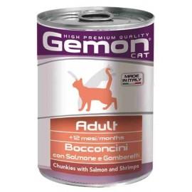 Gemon Cat Adult Chunkies with Salmon and Shrimps - консервы для кошек с кусочками лосося и креветками, 400г