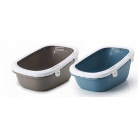 "20540WBS Туалет ""SAVIC"" ""Simba"" для кошек, с ситом, 64х46х31см, белый/голубой, пластик"