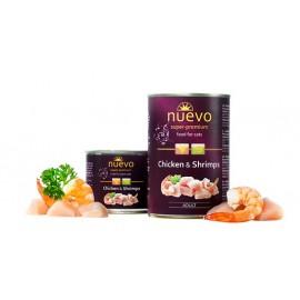 NUEVO консервы для взрослых кошек с курицей и креветками (упаковка 6 штук по 200г)