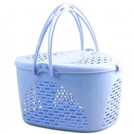 Переноска Triol для животных из пластика S, овальная, голубая, 400*290*230мм